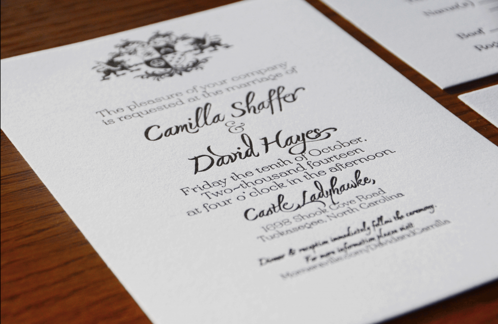 shaffer-hayes event wedding invitation close up