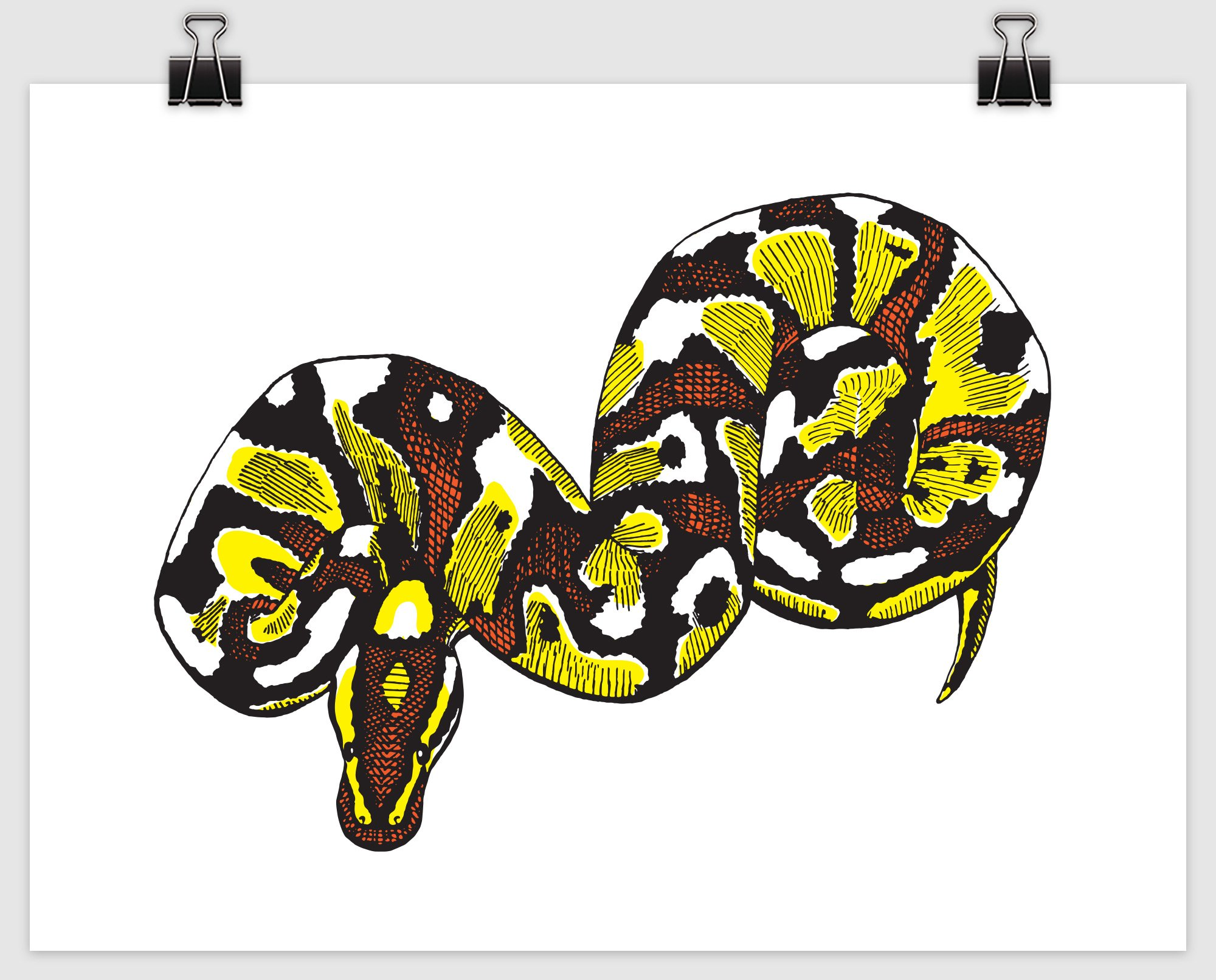 "pop python digital print mockup in the ""hot sauce"" morph colorway"