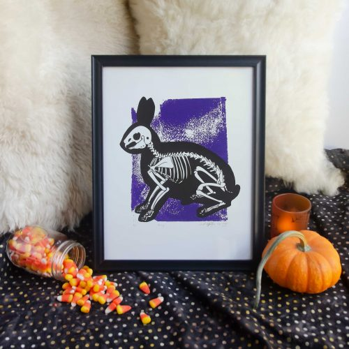 "11x14"" Purple Bunny Skeleton Animal Bones Silk Screen Wall Decor"