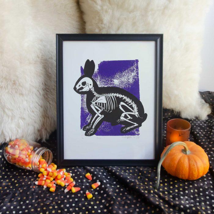 "11x14"" Purple Bunny Skeleton Animal Bones Silk Screen Wall Decor"