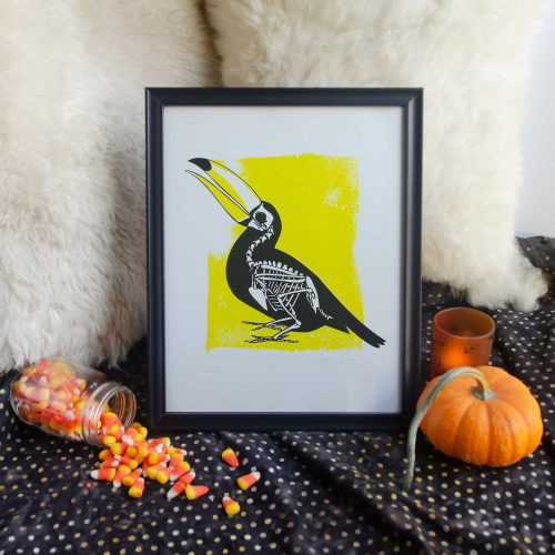 "11x14"" Yellow Toucan Skeleton Animal Bones Silk Screen Wall Decor"