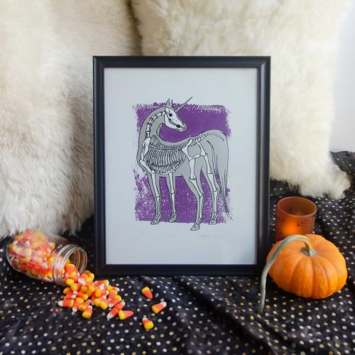 "11x14"" Metallic Silver & Purple Unicorn Skeleton Fantasy Animal Bones Silk Screen Wall Decor"