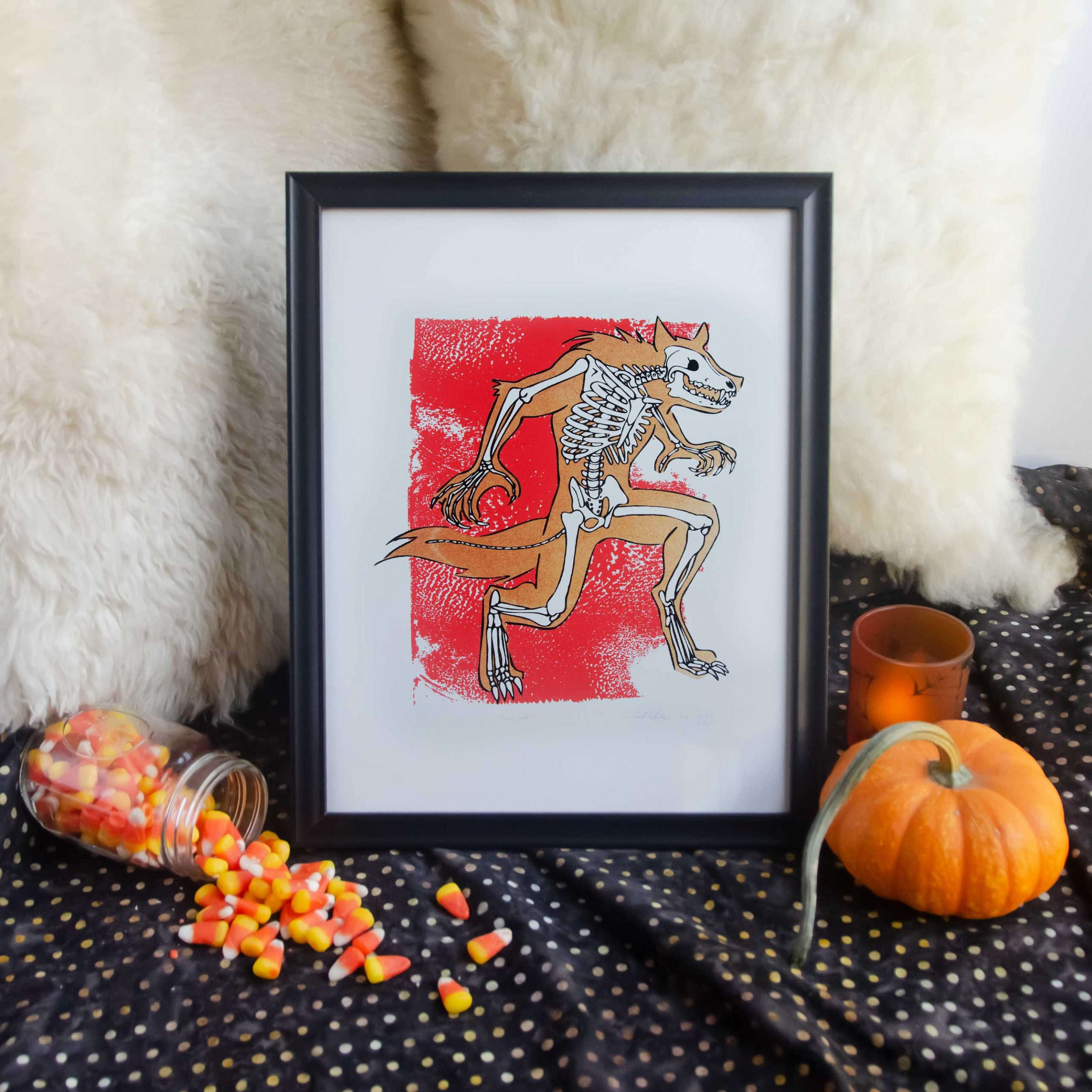 "11x14"" Metallic Bronze & Red Werewolf Skeleton Fantasy Animal Bones Silk Screen Wall Decor"