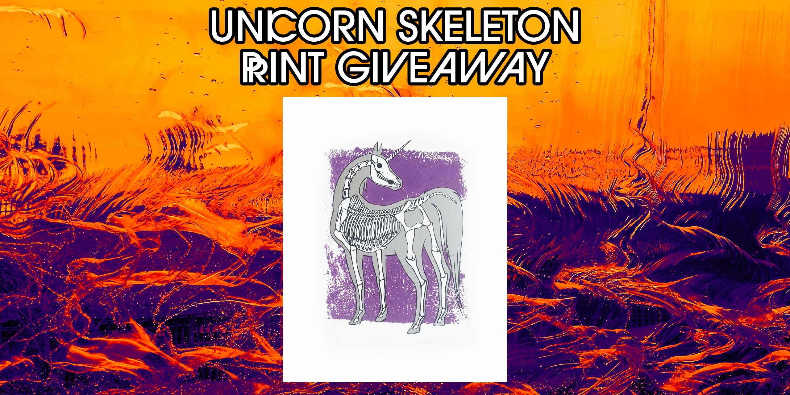 unicorn skeleton print giveaway graphic